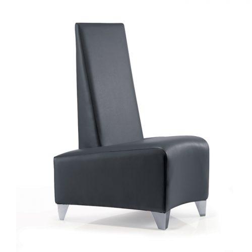 black curved salon spa reception chair long back
