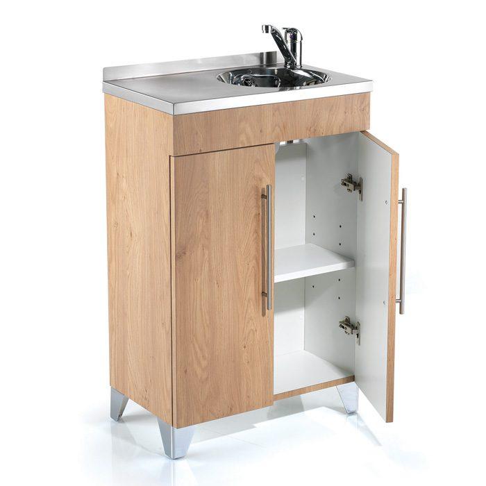 vanity storage unit in oak with steel basin